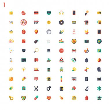 Colored classic flat icons