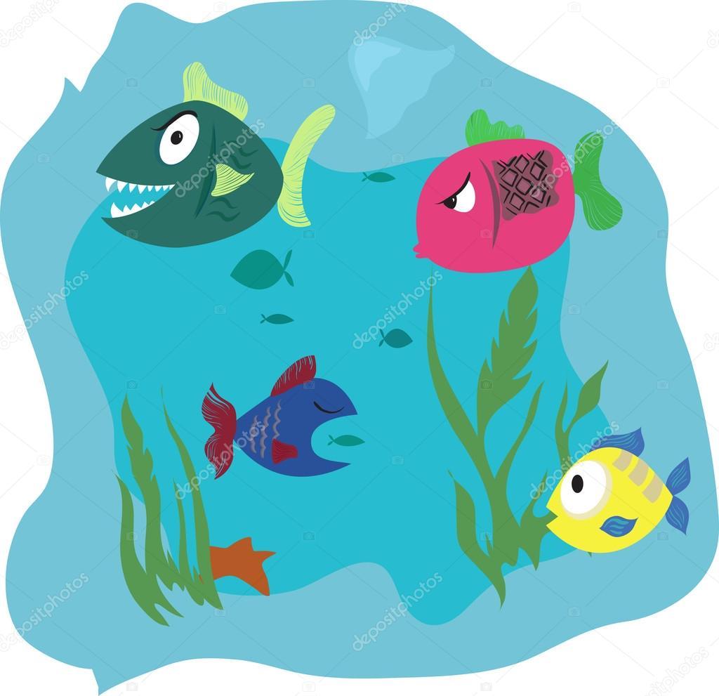 Algunos dibujos animados de peces en el agua ilustraci n for Fondos animados de agua