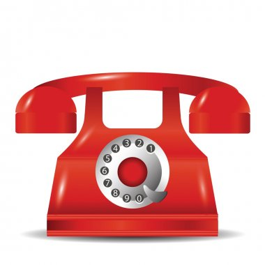 Colorful illustration with old red phone for your design clip art vector