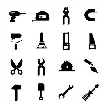 Tool Icon Set Black and White, EPS10 clip art vector