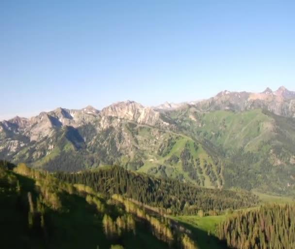 Letecký snímek zelený les a hory odhalit