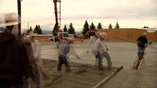 Pouring concrete in timelapse