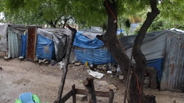 Sheet metal and tarp homes Port-au-Prince Haiti