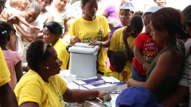 Registration table at vaccination clinic in Haiti