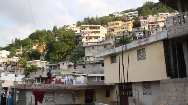 Pan across extensive hillside neighborhoods in Port-au-Prince Haiti