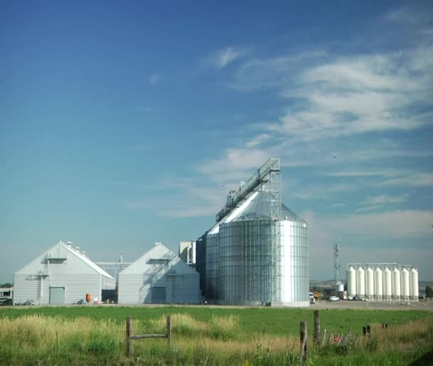Wide shot of grain elevators green grass and blue sky