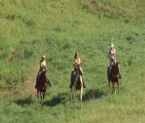 tři mladé ženy na koních cval přes zelenou louku