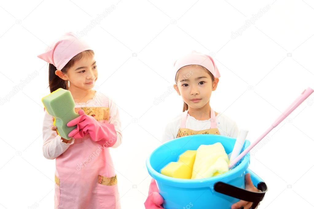 Girls cleaning