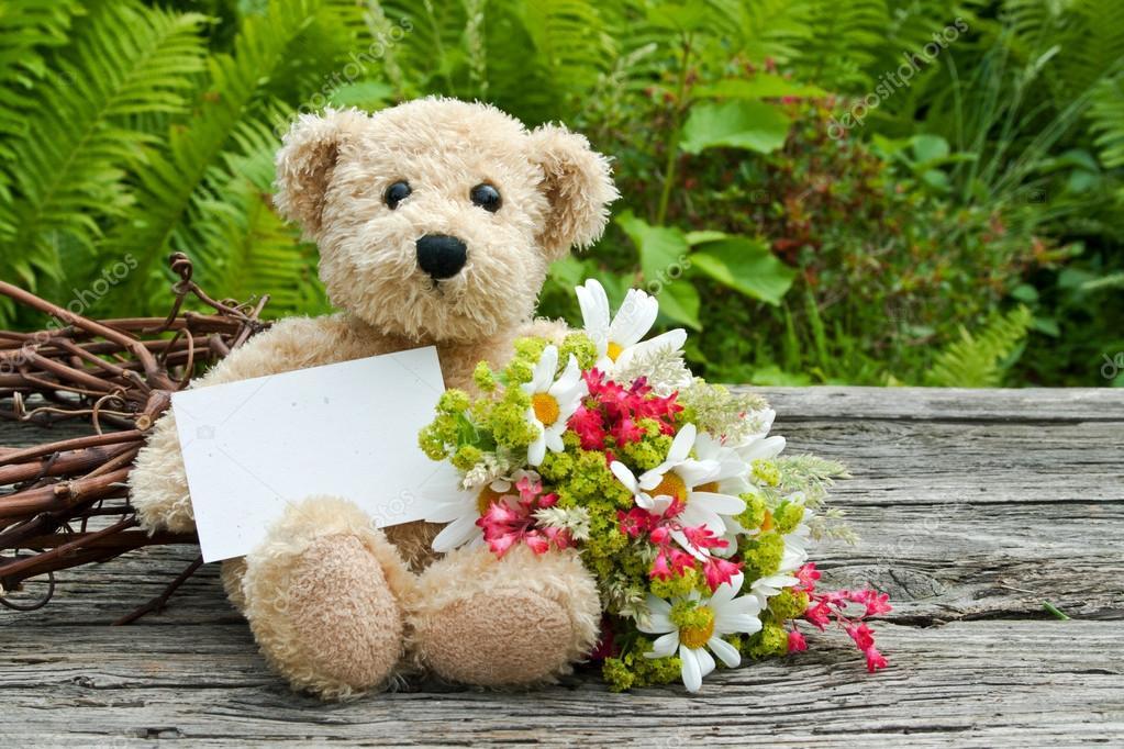 мишка и цветы прости фото