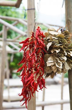Bunches of dried red peppers and bay leaves