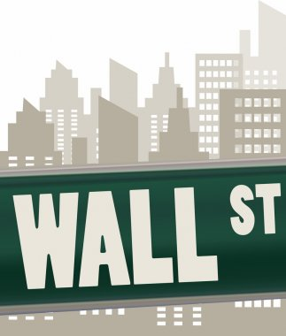 wall street sign plate on green