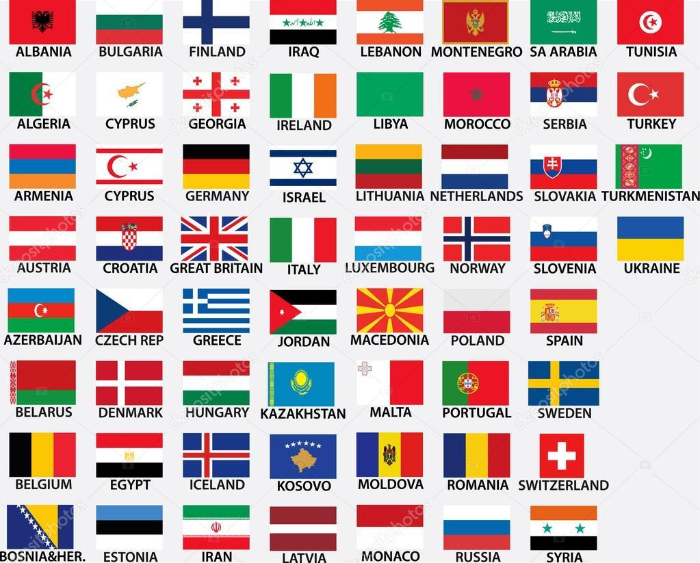 すべての欧州諸国の国旗 — スト...