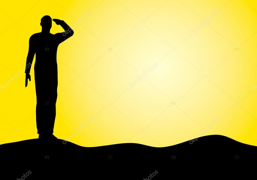 silhouette of an army soldier saluting stock vector 18551359