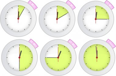 timer clock with 5, 10, 15, 30, 45, 60 min signs