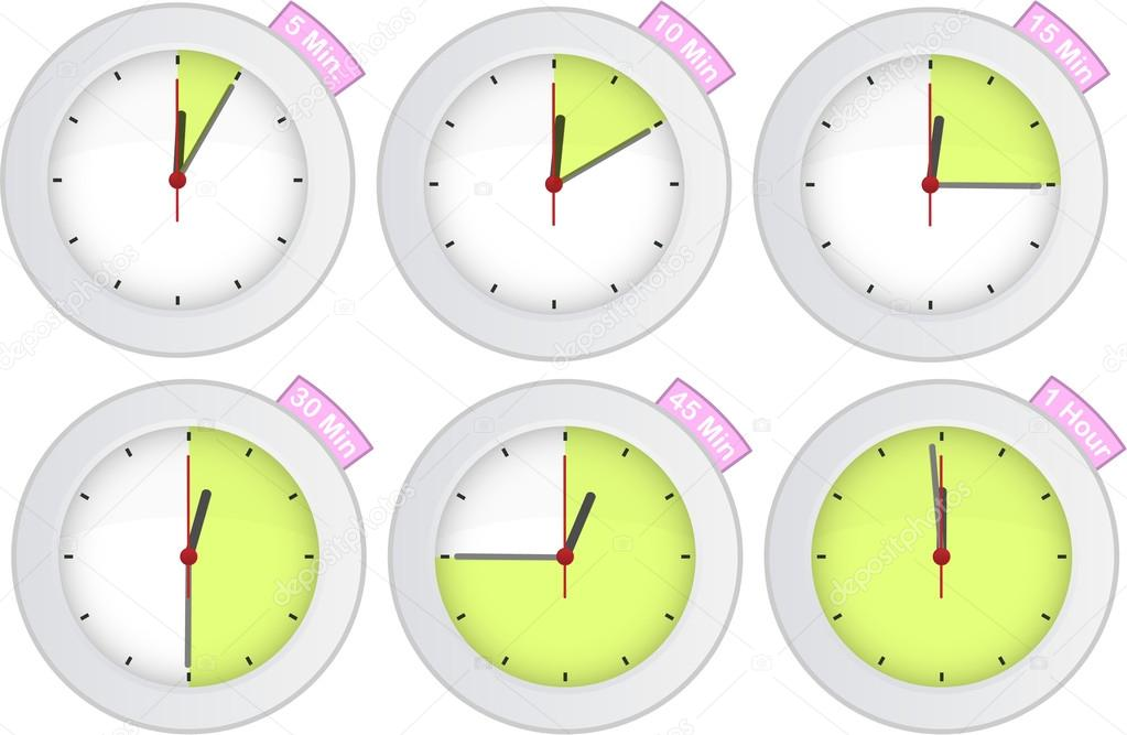 Timer clock with 5, 10, 15, 30, 45, 60 min signs — Stock