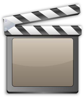 movie clapper, clapboard, clapperboard, film slate in black ligh