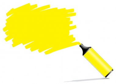 Highlighter pen with scribbles on a blank piece of paper
