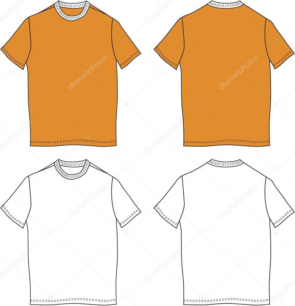 White orange t shirt design templates front back for Stock t shirt designs
