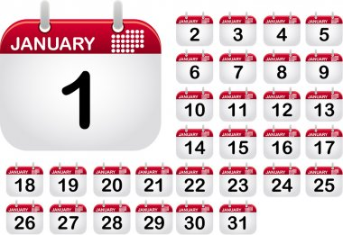 Full, from one to thirty one, calendar icons for the month January clip art vector
