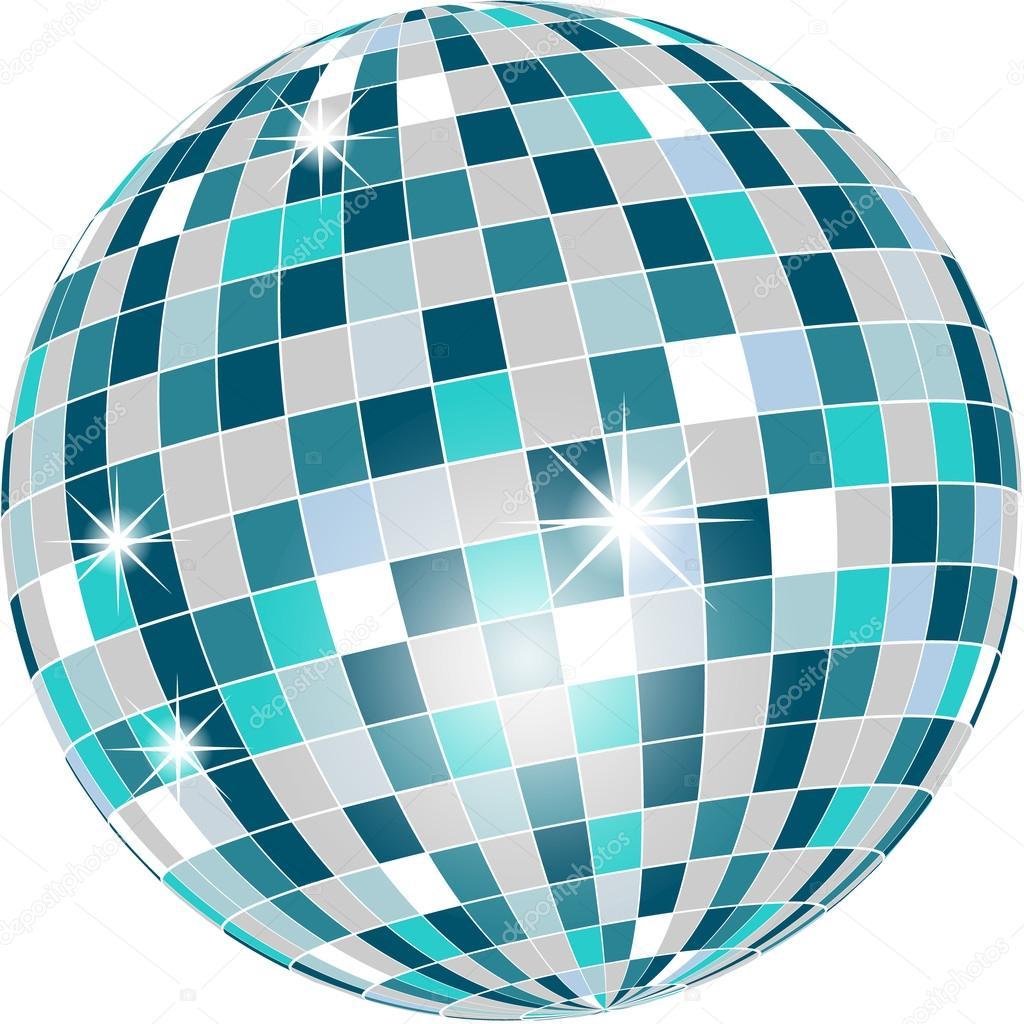 Vector bola de discoteca en tonos verdes aislado - Bola de discoteca de colores ...