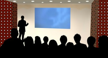 presentation at a business conference or product marketing
