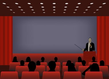 a person doing a presentation at a business conference or produc