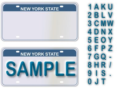 Empty License Plate New York With Editable Live Text