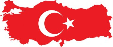 Turkey Map with Turkish Flag