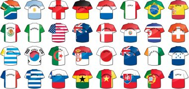uniforms of national flags participating in world cup with glow
