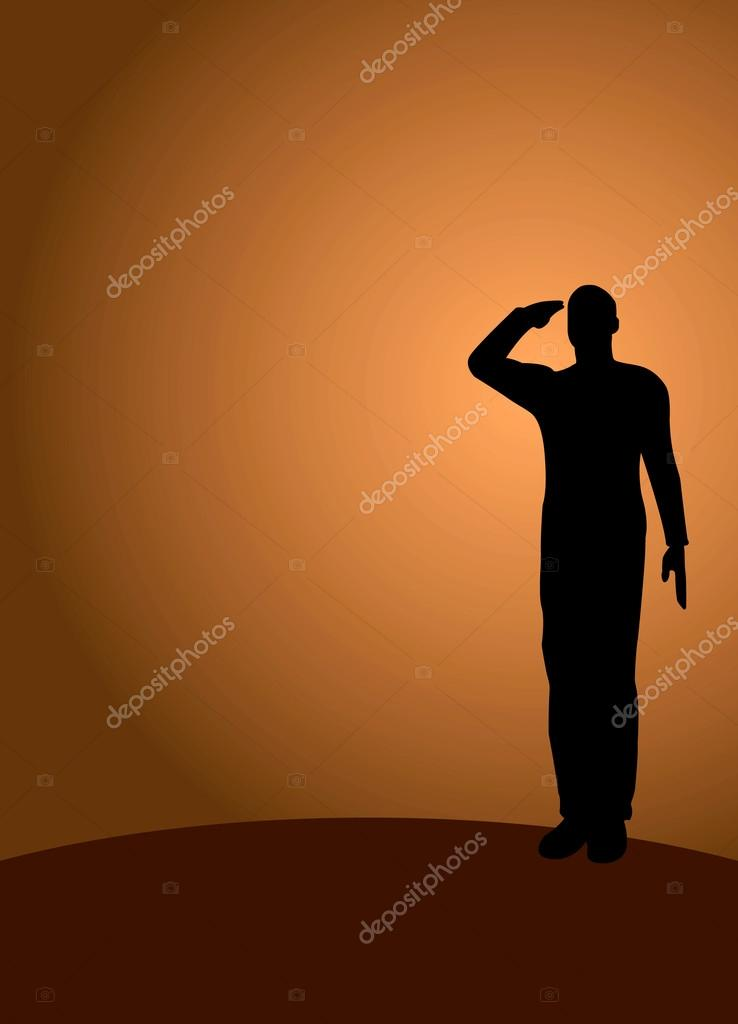 silhouette of an army soldier saluting stock vector 19984287
