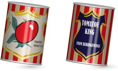two shiny food tin can of peeled tomatoes with label