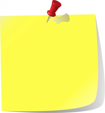 Vector - pinned note paper, canary yellow