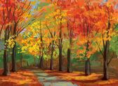 vektor podzimní krajinou, cesta v parku