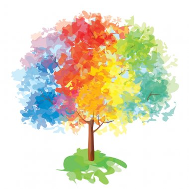 Vector of abstract colorful tree.