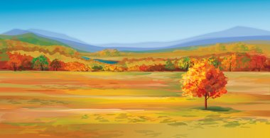 Vector of autumn landscape. stock vector