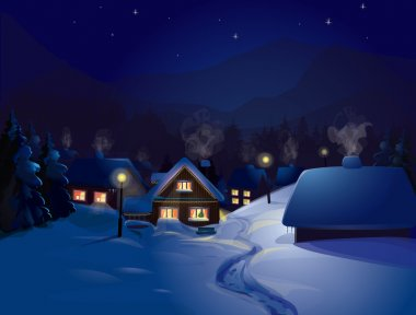 Vector of winter landscape. Merry Christmas!