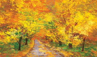Vector of autumn landscape, pathway in park.