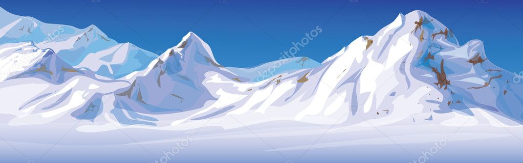 Vector of winter landscape, mountains covered snow.