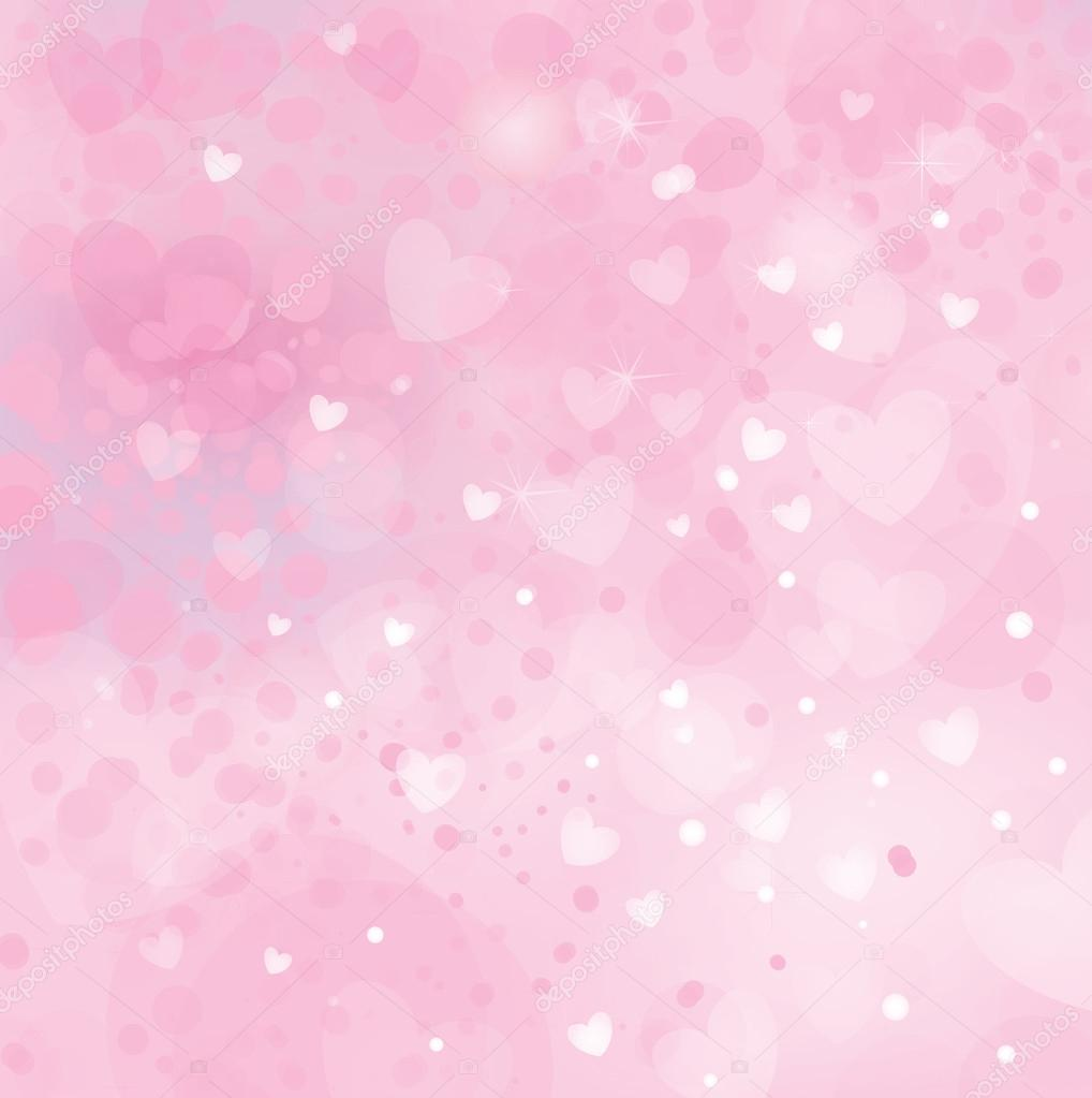Lights and hearts on pink background.