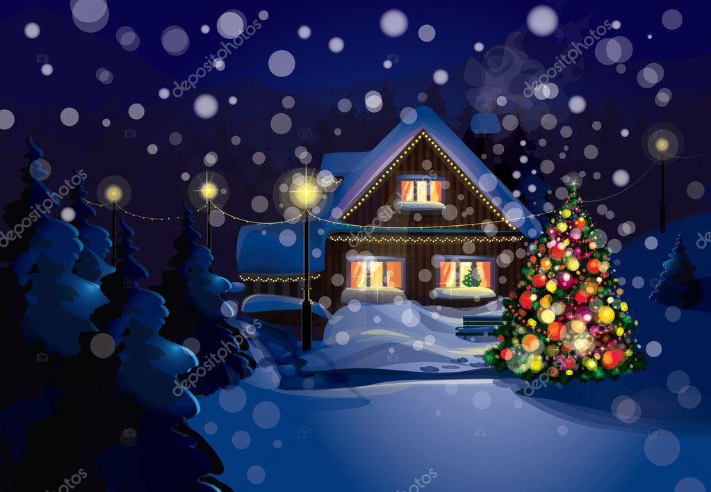 vektor weihnachten Szene, Schneefall ist in getrennten Schicht ...