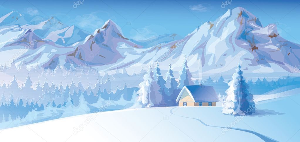 Vector of winter landscape with mountains and cote covered of snow.