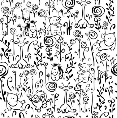 Seamless cute pattern of flora and fauna