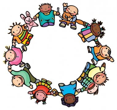 Circle of happy children different races.