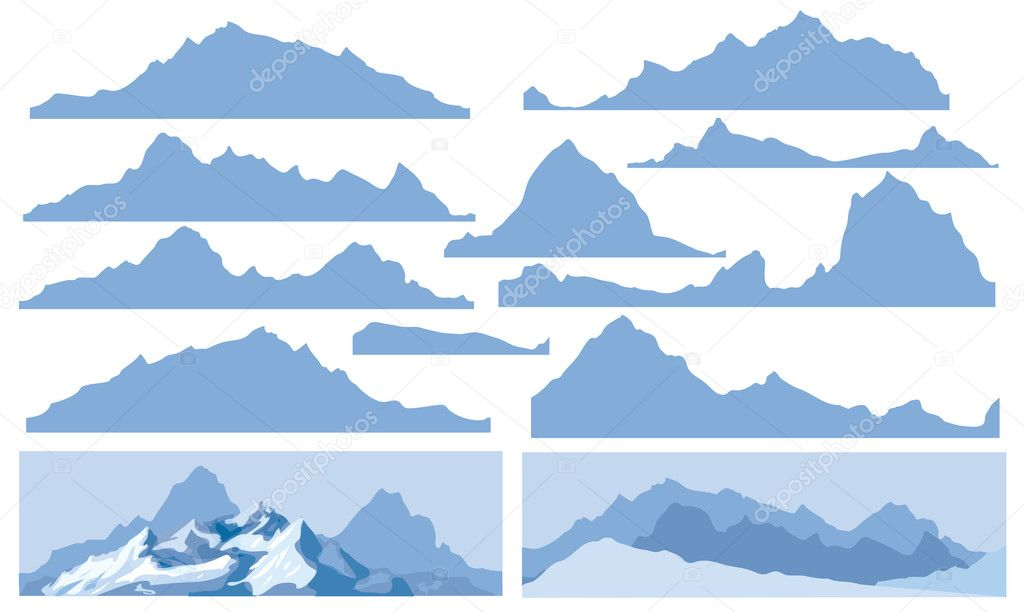 Silhouettes of mountain for design, all elements of rocks are seamless