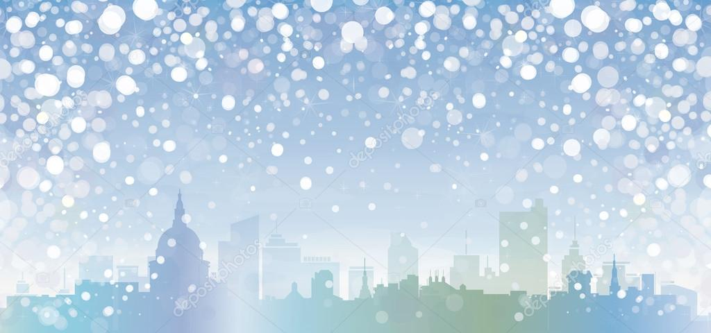 Vector of winter cityscape.