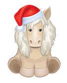 Vektor hübsch Pferd in rot Santa Hut isoliert