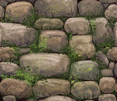 Vector seamless texture of stones covered moss. stock vector