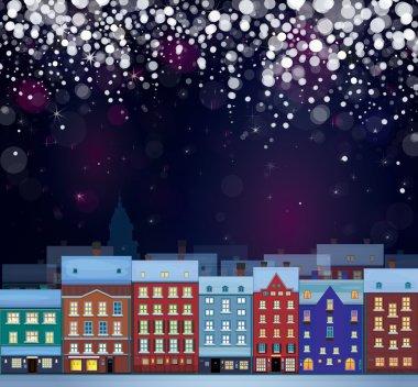Winter wonderland cityscape