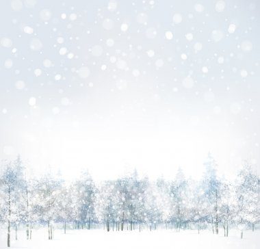 Vector of winter scene with forest background. stock vector