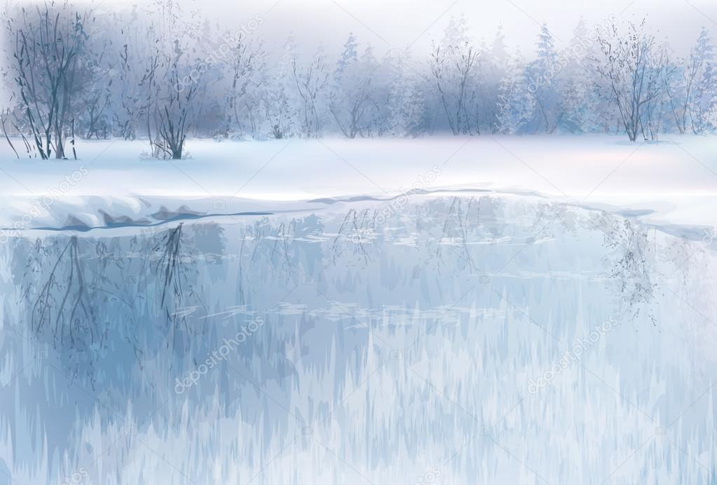 Winter scene with river